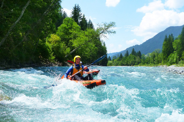 Kajak Rafting XL - Wildwasser Tour im Allgäu Level 3