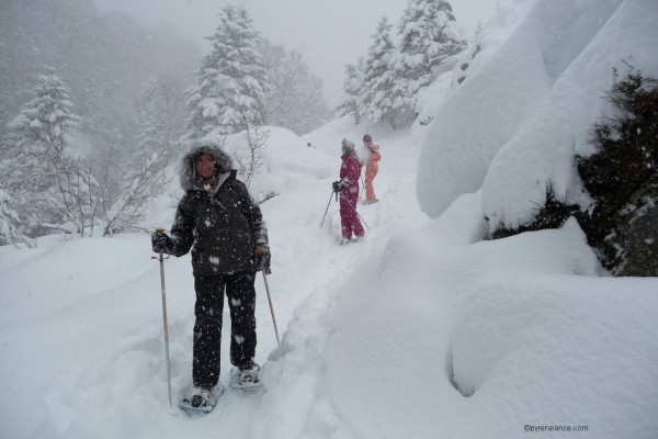 raquettes à neige dans les pyrénées en vallée d'ossau