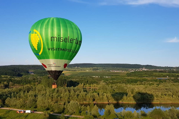 Hot air balloon flying over Luxembourg
