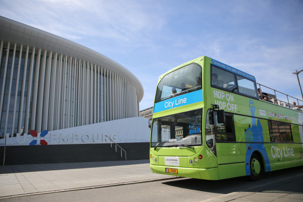 Hop On Hop Off City Line Bus in front of the Philharmonie