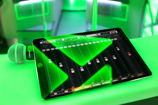 DJ tablets and microphone - high-performance sound system