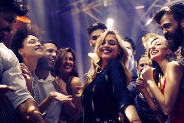 Group of friends having fun on the dance floor