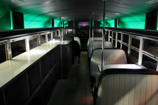 Vintage benches in Cool Bus