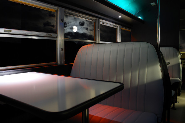 Inside view of Cool Bus in moonlight
