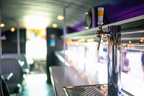 Beer tap inside the Cool Bus