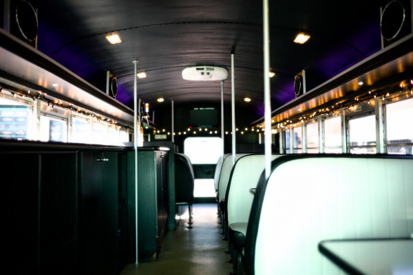 Inside view of Cool Bus during the day