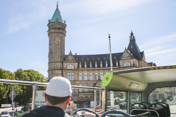 Exploring Luxembourg City on a double decker bus