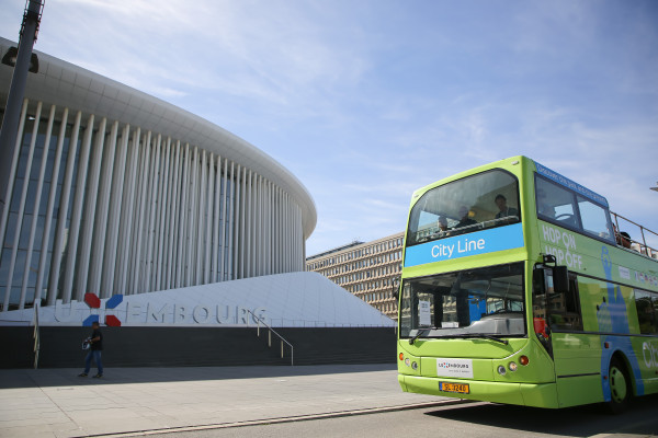Woman touring Luxembourg on City Line double decker bus