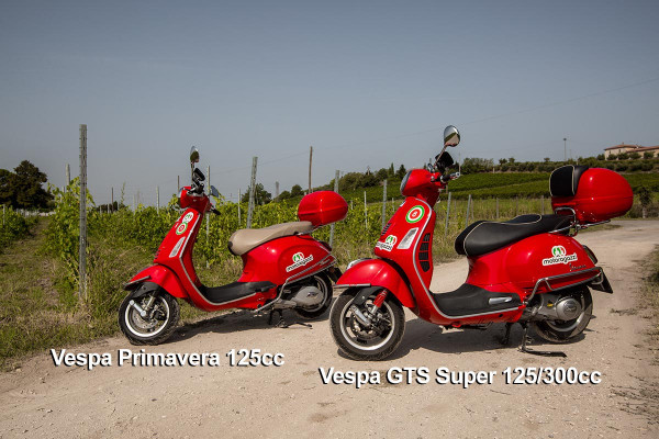 Vespa Primavera 125cc and Vespa GTS Super 125cc/300cc scooter for rent Riva del Garda