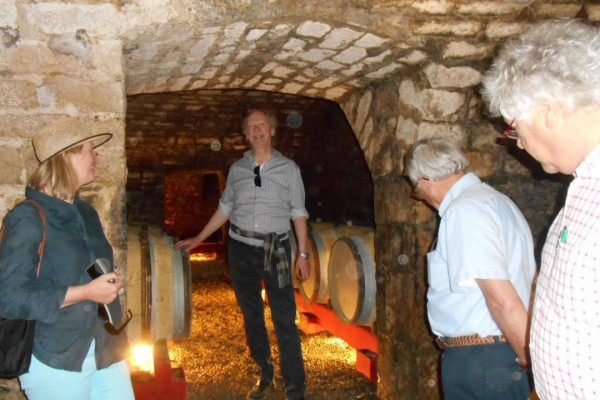 Visiting a private wine cave