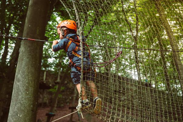 Child doing a tree climbing challenge