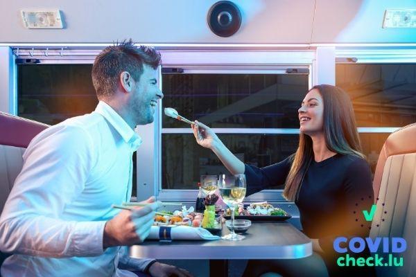Couple enjoying sushi during Asian Tour on Dinner Hopping bus