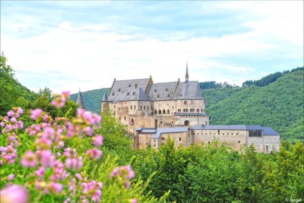 Panoramic view of Vianden Castle in springtime
