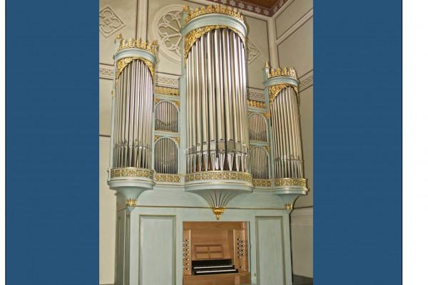 Evangelischen Kirche Caputh, Orgel von Ludwig Gesell 1852, Erweiterung Alexander Schuke 1927, Restaurierung Reinhard Hüfken 2005 (Foto: U. Iwer)