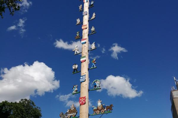 Der Maibaum auf dem Schlossplatz in Kirchheimbolanden - unser Treffpunkt