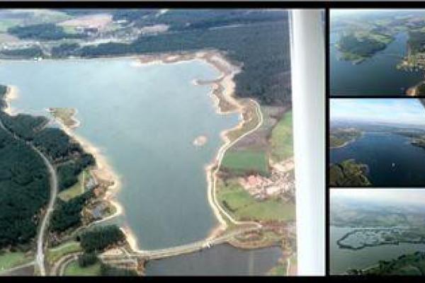 Panorama-Blick bei einem Rundflug über die Fränkische Seenplatte