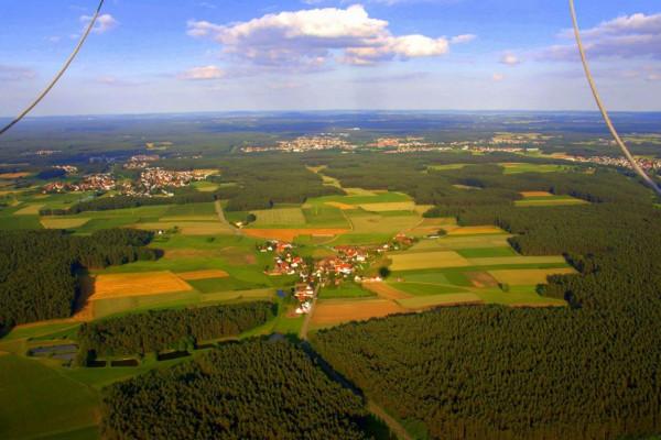 Panorama bei der Ballonfahrt in der Region Roth