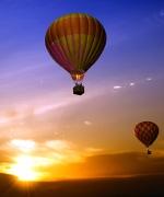 Sonnenuntergang bei einer Ballonfahrt über Aachen